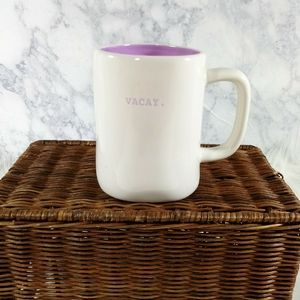 Vacay Rae Dunn White Purple Odd Shape Coffee Mug